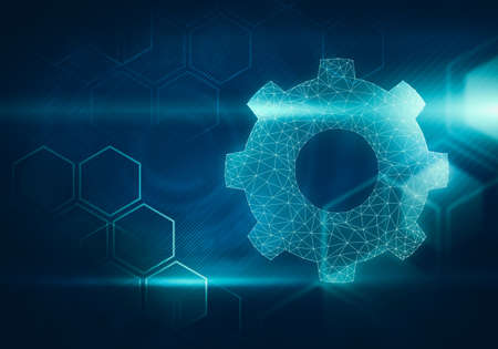 hexagonal shaped: Abstract digital image of gear shaped network on hexagonal background with cosmic light flares.