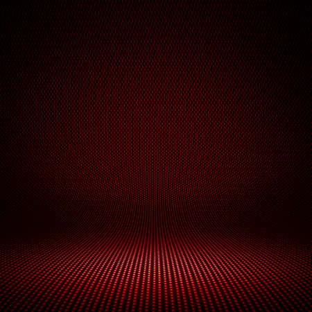 Moderne rode koolstofvezel geweven interieurstudio met licht voor achtergrond