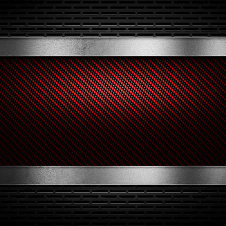 metal mesh: Abstract modern red carbon fiber with grey perforated metal and polish metal plate textured material design for background, wallpaper, graphic design