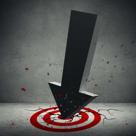 crashed: 3d illustration of big volumetric arrow crashed in the red target on the floor of old concrete interior. Floor with cracks and particles. 3d rendering Stock Photo