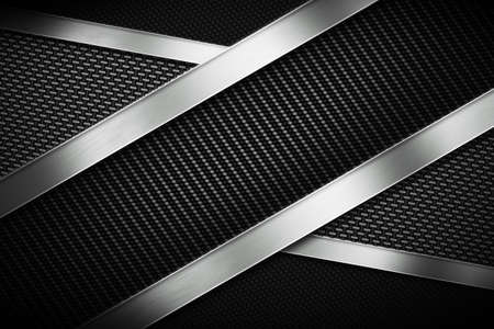 grille: Three types of modern carbon fiber with polish metal plate texture material design for background, wallpaper, graphic design