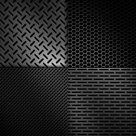 Four types of abstract modern grey perforated metal plate textures for background, wallpaper, graphic design Stock Photo