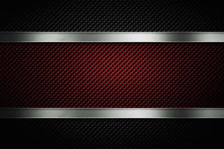 Abstract modern black and red colored perforated metal plate with polished metal plate banner, place for text in center, material design for background, wallpaper, graphic design Stock Photo