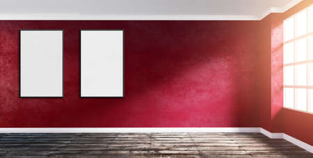 3d rendering illustration of big modern empty room corner with ruby red plaster wall, rough wooden floor, window and two poster frames. Morning sunlight. Mock up template for your artwork.