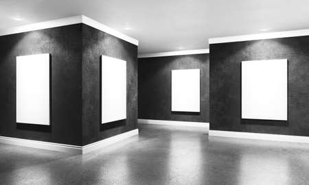 Modern concrete gallery room with directional spotlight and frames. Product artwork exhibition mock up. White isolated art frames. 3d rendering illustration of interior with black plaster walls in perspective. Banco de Imagens - 95462902