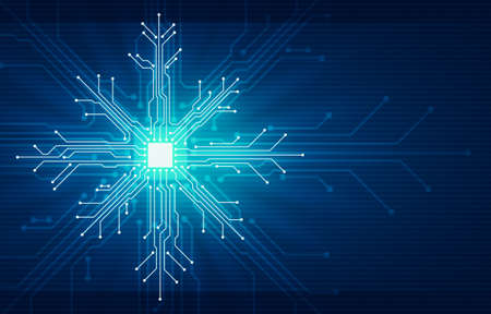 Abstract digital illustration of microchip board on snowflake shape on blue background. Technology concept image. Happy new year and merry christmas card. Foto de archivo
