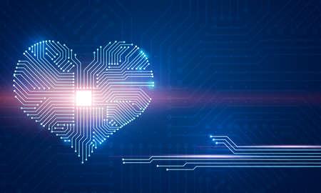 Ilustración digital abstracta del tablero de microchip en forma de corazón sobre fondo azul. Tarjeta de felicitación conceptual de San Valentín.