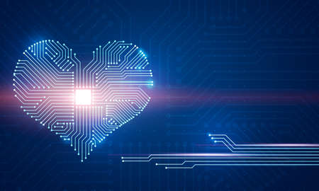 Abstract digital illustration of microchip board on heart shape on blue background. Conceptual St. Valentine's greeting card.  Foto de archivo