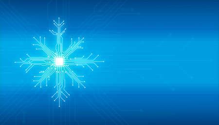 Abstrakte digitale Illustration des Mikrochipbrettes auf Schneeflockenform auf blauem Hintergrund. Technologiekonzept Bild. Frohes neues Jahr und Frohe Weihnachten-Karte.