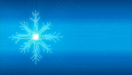 Abstract digital illustration of microchip board on snowflake shape on blue background. Technology concept image. Happy new year and merry christmas card. Stock Photo
