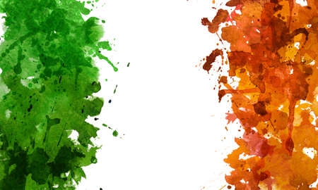 2d hand drawn illustration for St.Patricks day. Green and orange watercolor splash blot in shape of Irelands flag. Isolated on white background. Stock Photo