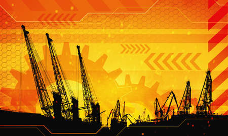 2d industrial illustration of under construction background with port loads cranes. Caution warning tape. Concept illustration of work process.