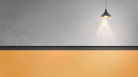 3d rendering illustration of grey plaster wall with black molding and yellow panel, one hanging copper lamp. Directional light. Place for text
