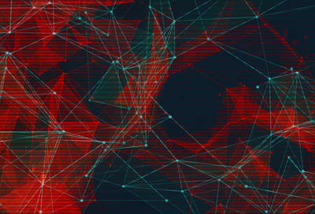 Abstract polygonal space low poly background. Connecting dots and lines in triangular structures. Illustration with trendy glitched effect, dead pixels, noise, binary code. Network, crystal cell conceptual image. Imagens