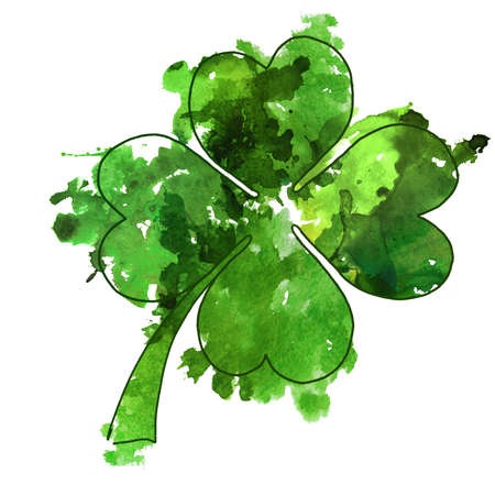 2d hand drawn illustration for St.Patricks day. Green watercolor splash blot in shape of clover leaf. Isolated on white background.