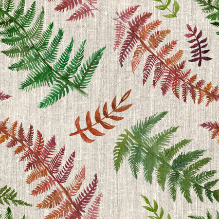 2d hand drawn watercolor seamless background. Colorful fern leaves drawn on rustic piece of coarse cloth. Linen, flax fabric with natural, tropic pattern. 写真素材