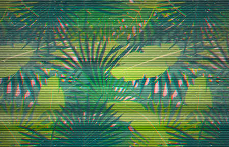 Abstract digital pattern with colorful palm leaves greenery on pink backdrop. Glitched background with vhs interference. Stereo effect illustration. Webpunk, retrowave.