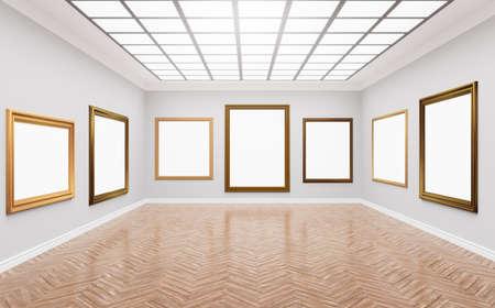 3d rendering illustration of classical gallery. Fine art museum. White blank canvases in gorgeus golden frames. Poster, artwork, paint mock up, template. Bright sunny room with light illuminating through glass ceilling.