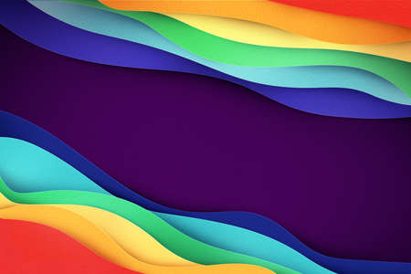 Creative abstract banner illustration. Rainbow colored waves made of cut out paper. Texturized applique for background. Smooth flow. Symbol of lgbt rignts. 版權商用圖片