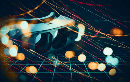 Abstract illustration of stereoscopic virtual reality glasses in creative space. Beautiful moving bokeh light in cyberspace. Futuristic concept.