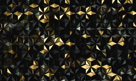 Shiny golden black mosaic 3d rendering background