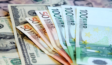 Two leading hard currencies - US Dollar and Euro Stock Photo