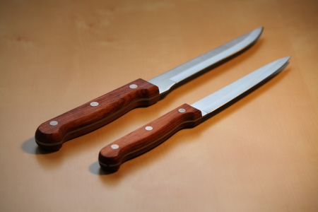 Two new kitchen knives Stock Photo