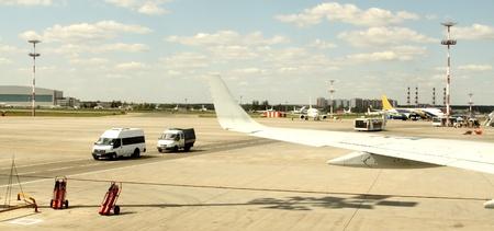 Airplane in landing runway road, view from inside