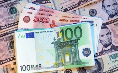Money of different countries: dollars, euros and modern russian roubles Stock Photo - 14610078