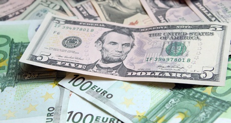 Two leading hard currencies - US Dollar and Euro Stock Photo - 15020645