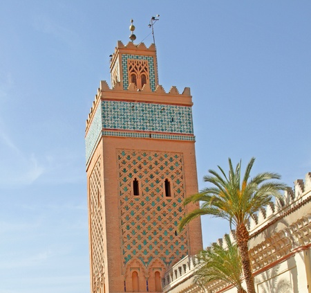 Moulay Al Yazid Mosque and minaret in medina of Marrakesh, Morocco Stock Photo - 15133465