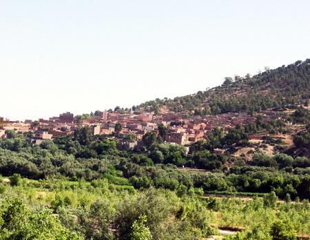 Belle vue sur les montagnes montagnes de l'Atlas, au Maroc et un village Banque d'images - 15170826