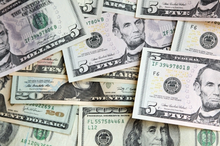 Heap of US dollars, notes of different values, money background Stock Photo - 15498482