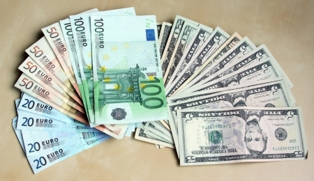 Two leading hard currencies - US Dollar and Euro photo