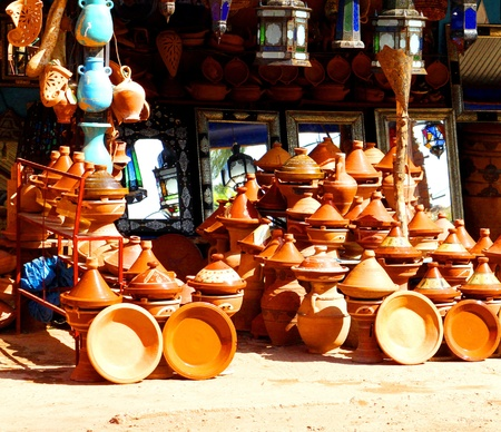 Traditional morocco souvenirs in the street market photo