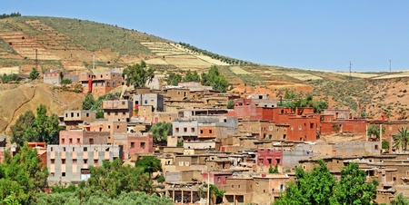 african village: Beautiful view of mountains  Atlas mountains, Morocco  and a village