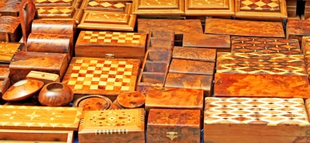 Wooden souvenirs in street market in Morocco Stock Photo - 15405101