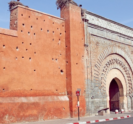 Famous Bab Agnaou door in medina of Marrakesh Stock Photo - 15613759