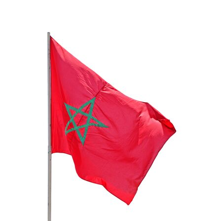 wavering: Flag of Morocco - isolated on white background