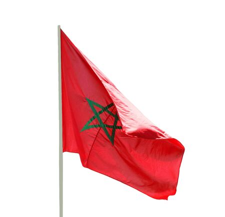 Flag of Morocco fluttering in the wind - isolated on white background