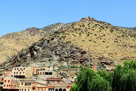 Beautiful view of mountains  Atlas mountains, Morocco  and a village