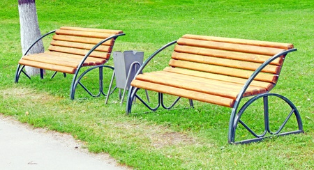 Two benches in the park Stock Photo
