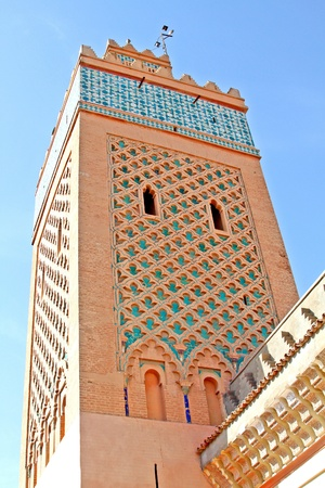 Moulay Al Yazid Mosque and minaret in medina of Marrakesh, Morocco Stock Photo