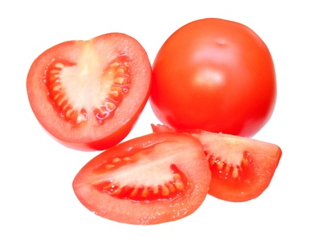 Cut tomatoes, isolated on white background