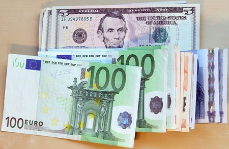 Two leading hard currencies - US Dollar and Euro Stock Photo - 17930297