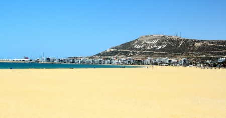 made in morocco: The beautiful beach (picture made in Agadir, Morocco) Stock Photo