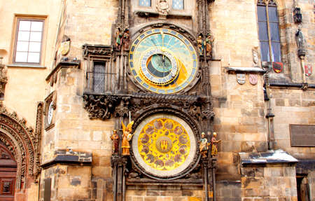Famous astronomical clock at the Old Town square in Prague, Czech Republic, Europe Stock Photo