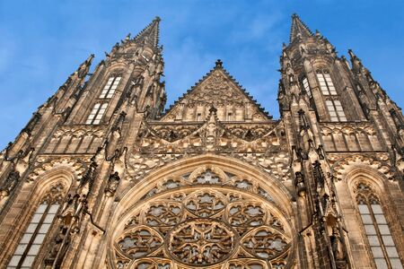 View of St. Vitus Cathedral in Prague Castle, Czech Republic Stock Photo