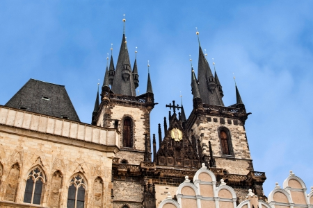 tyn: Symbol of Prague: Church of Our Lady before Tyn on Old Town Square Stock Photo