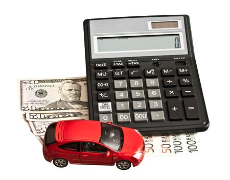 Toy car and money over white. Rent, buy or insurance car concept photo